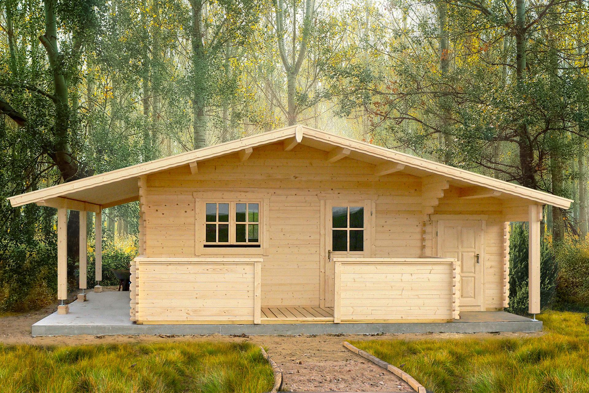 Gartenhaus mit Terrasse, Anbau und Schleppdach NIDA TAS