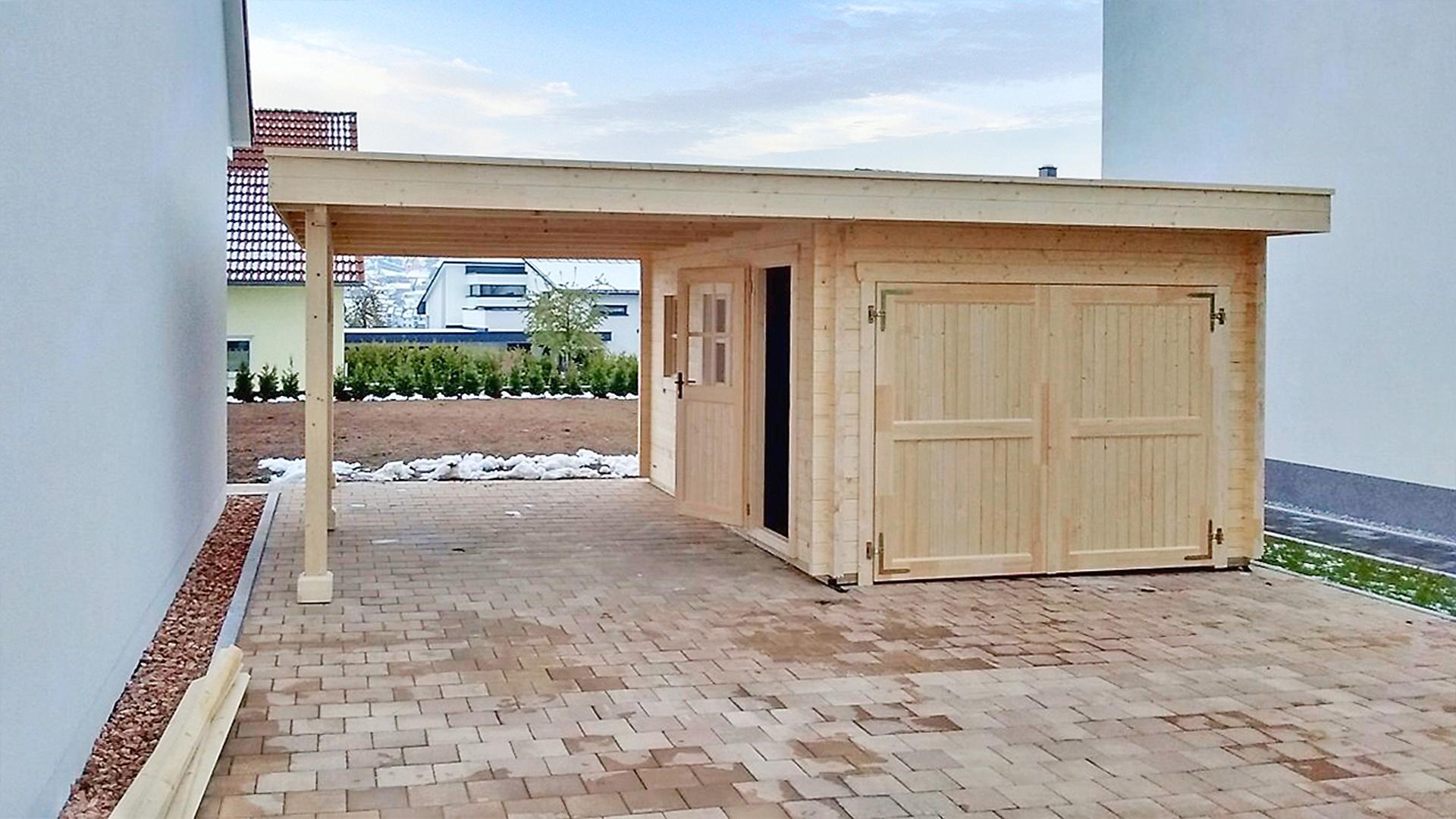 Garage Mit Carport Hibiscus Butenas Holzbauten