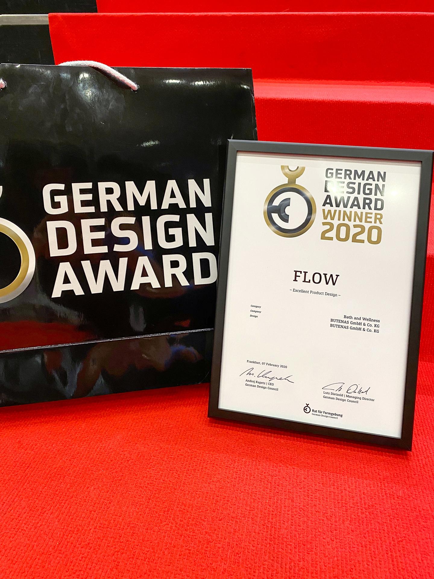 BUTENAS Urkunde German Design Award 2020