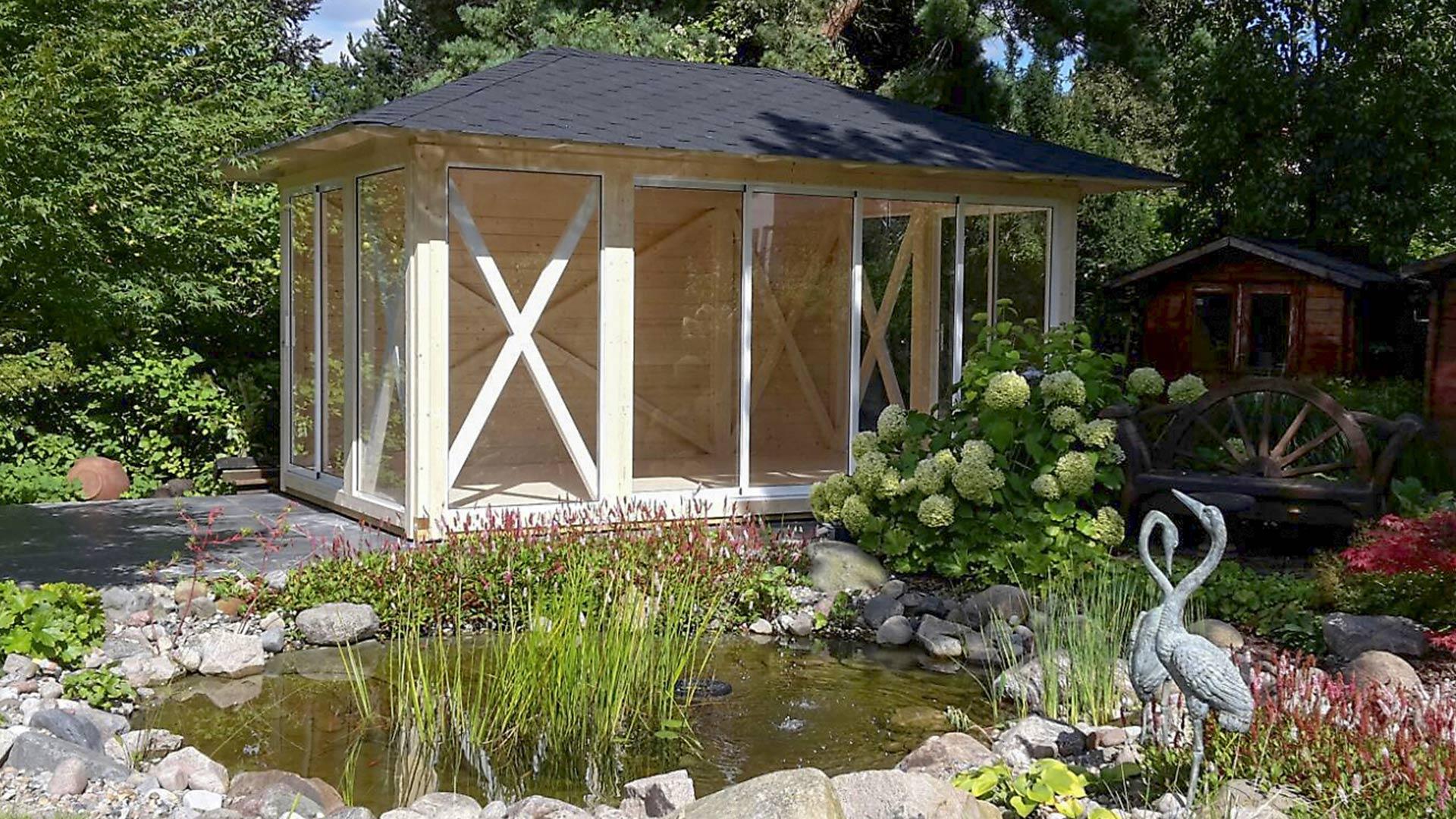 pavillon aus holz exklusive auswahl an gartenpavillions. Black Bedroom Furniture Sets. Home Design Ideas