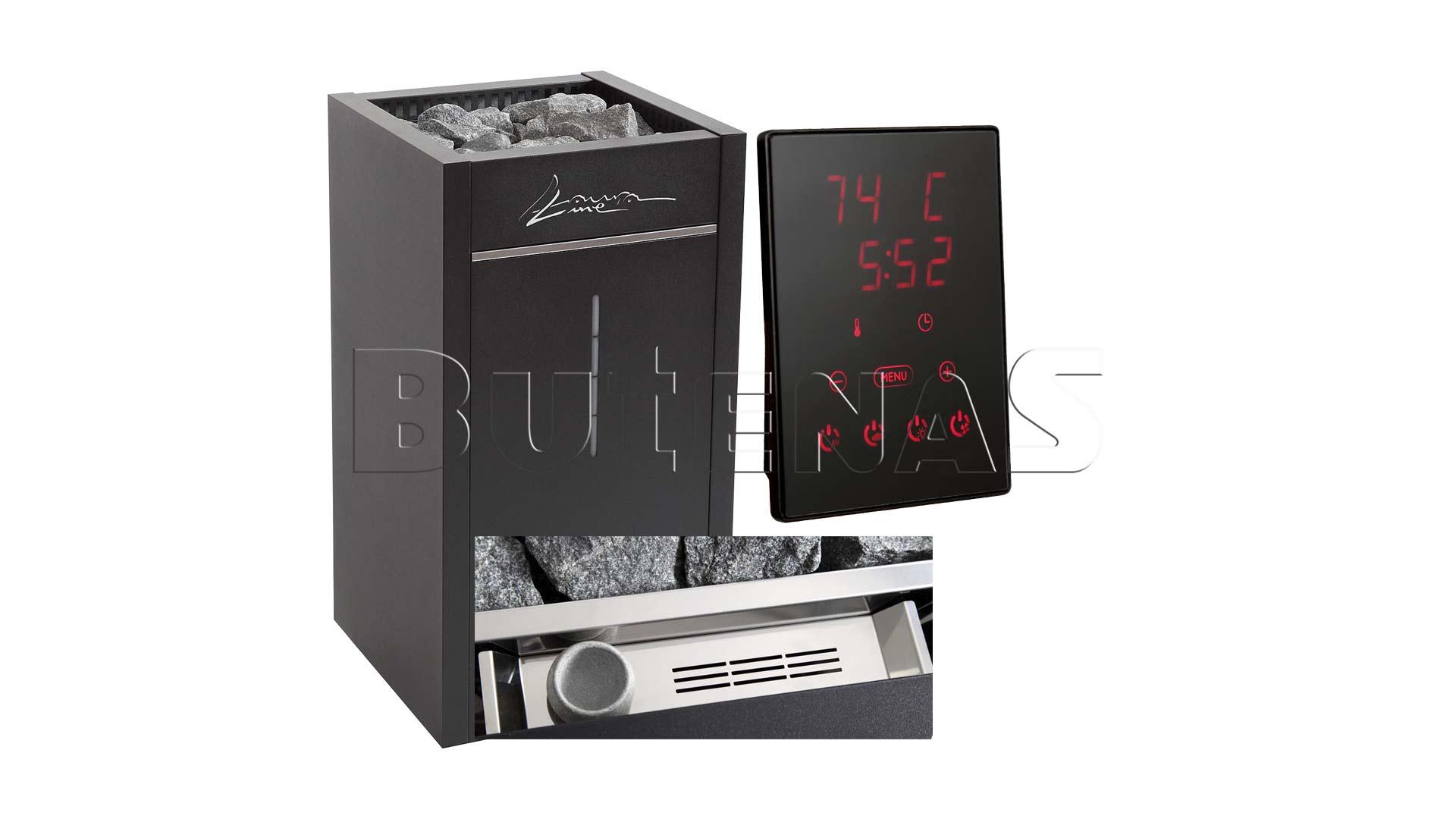 Bild von LauraLine® Design Technik Set mit Ofen und 70kg Steinen und Design Steuergerät LLCX110C Verdampfer B