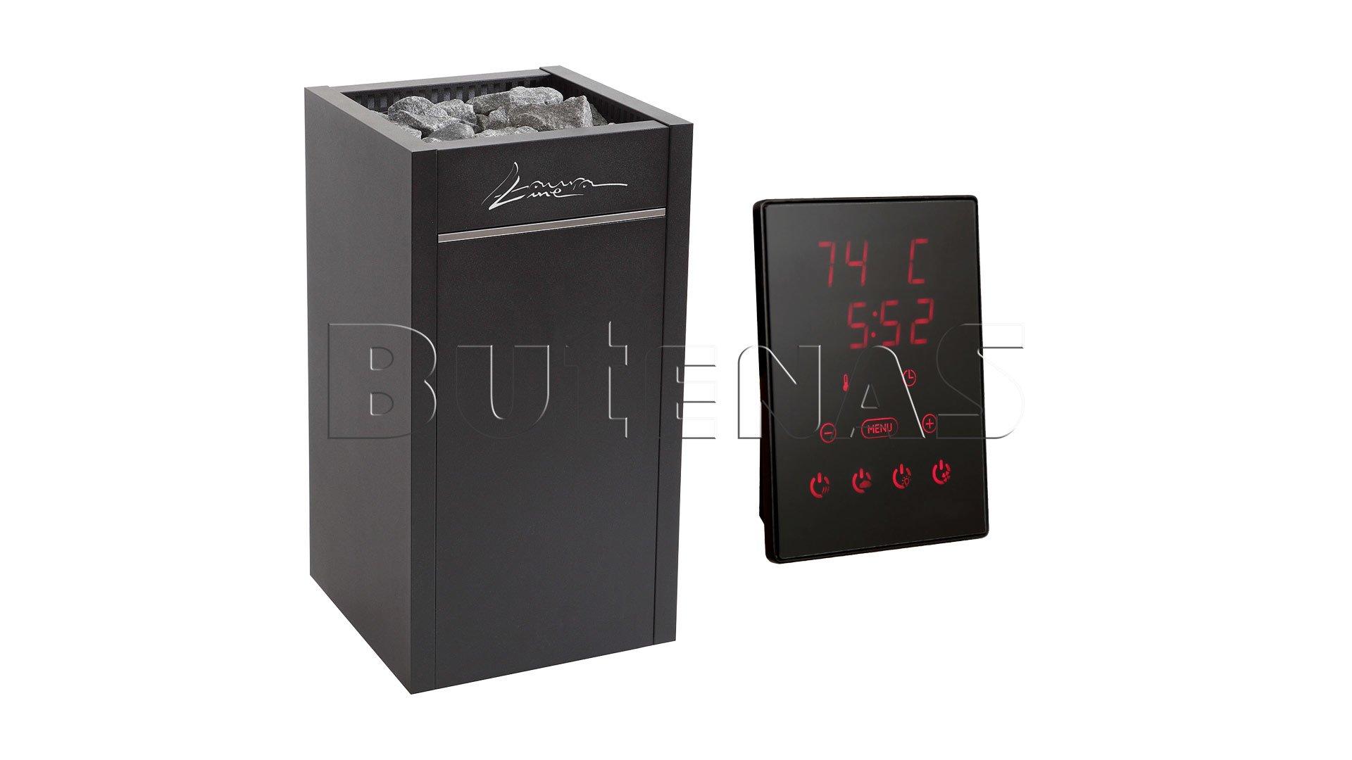 LauraLine® Design Technik Set mit Ofen und 70kg Steinen und Design Steuergerät LLCX110